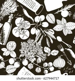Vegetarian healthy food Hand drawing illustration Seamless pattern