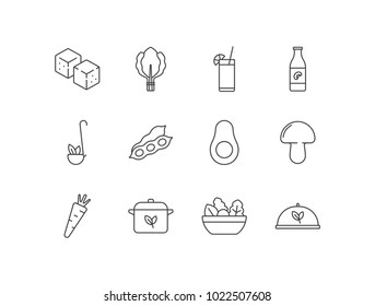 Vegetarian and healthy food line icons set with tofu, spinach, juice, soy milk, peas, beans, avocado, mushroom, carrot, pan, salad.