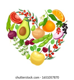 Vegetarian Heart Shaped Arrangement with Herbs and Vegetables Vector Illustration
