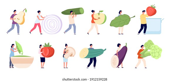 Vegetarian life. Raw ingredients, garden vegan natural nutrition. Mini people healthy food eating, cartoon tiny characters utter vector set