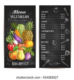 Vegetarian menu of vegetables and fruits. Vector chalk menu. Veggie farm eggplant and cabbage, carrot, asparagus, tomato, pepper and apple, pear and apricot, pineapple, plum on chalkboard