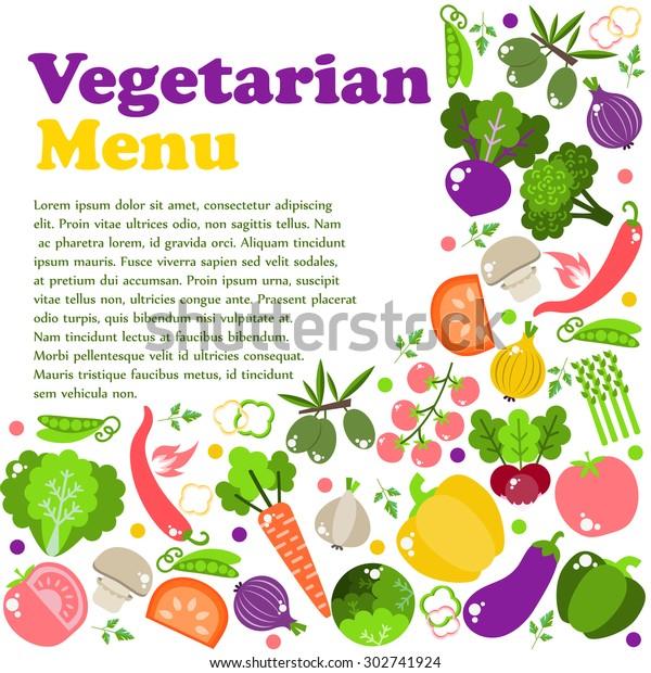 Vegetarian Menus Restaurants Cooking Recipes Fruits Stock Vector