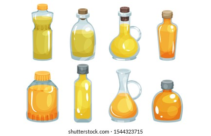 Vegetarian Oil Bottles Vector Set. Different Glassware With Raw Edible Liquid.