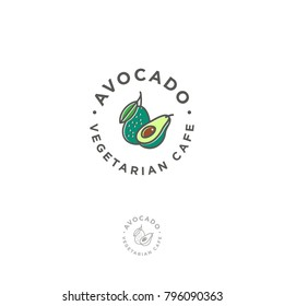Vegetarian restaurant logo. Avocado cafe emblem. Avocado icon. Avocado one cut in half with bone and a whole avocado with a leaf in a circle.