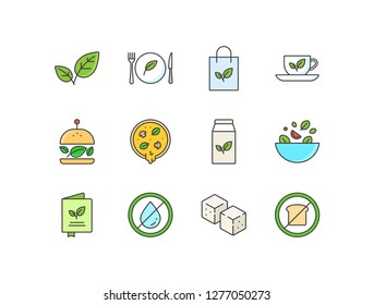 Vegetarian restaurant, organic food colored line icons with sprout, dish, product, green tea, veggie burger, pizza, soy milk, salad, menu, fat free, tofu, low carb.
