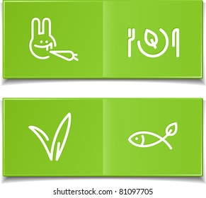 vegetarian symbols - dish with fish and rabbit with grass