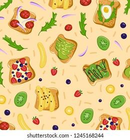 Vegetarian tosts,fruits and vegetables elements in vector illustration.
