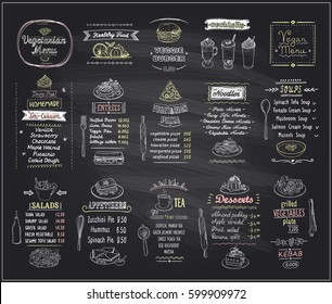 Vegetarian and vegan food chalkboard menu design set, hand drawn line graphic illustration with desserts and drinks, soups, salads, pizza and noodles, vector collection