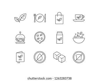 Vegetarian, vegan products line icons set  with herbs, restaurant, organic food, green tea, burger, pizza, soy milk, salad, menu, fat free, tofu, low carb.