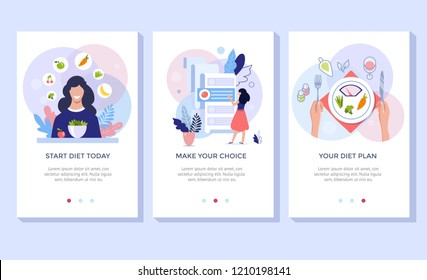 Vegetarianism and dieting concept banner set, mobile app templates. Vector illustration of young woman eating healthy vegetarian salad.