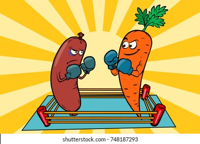 vegetarianism vs meat eating, war of the diets. Box sausages and carrots. Comic book cartoon pop art illustration retro vector