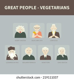 Vegetarians. Icons. Famous people.