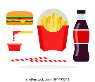 Veggie burger, french fries in the package, soda, straws, potatoes in ketchup vector flat material design isolated on white