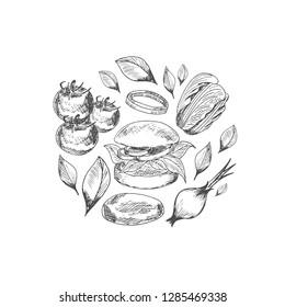 Veggie Burgers Lettering logo. Illustration for fastfood cafe menu, banner, poster. Vector. eps 10