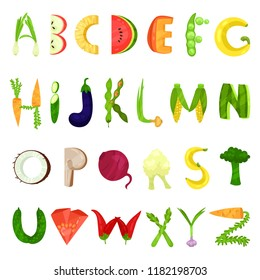 Veggie English alphabet letters made from fresh vegetables vector Illustration on a white background