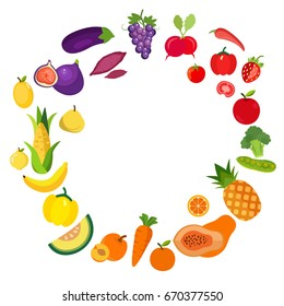 Veggie Lover Elements. Set of Fruits Vegetables and Organic Food Background.