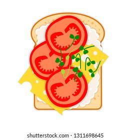 Veggie sandwich - bread, cheese, tomatoes, sauce, microgreens Arugula