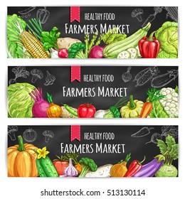 Veggies of farmer market. Vegetarian healthy food banners. Chalk sketch vegetable pumpkin and cabbage, onion, broccoli, pepper, cucumber, tomato, celery, radish, carrot and beet, potato on blackboard