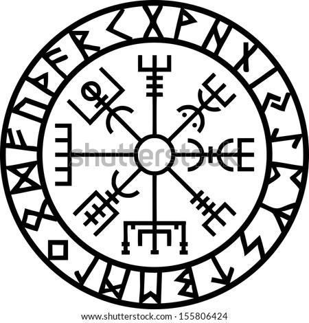 Vegvisir Icelandic Navigation Compass Stockvector Rechtenvrij