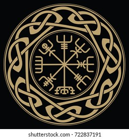 Vegvisir - Icelandic sign post or wayfinder is an Icelandic magical stave intended to help the bearer find their way through rough weather, isollated on black, vector illustration