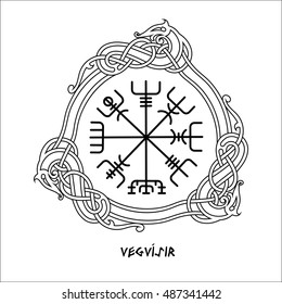 Vegvisir, the Magic Navigation Compass of ancient Icelandic Vikings with scandinavian ornament, isolated on white, vector illustration