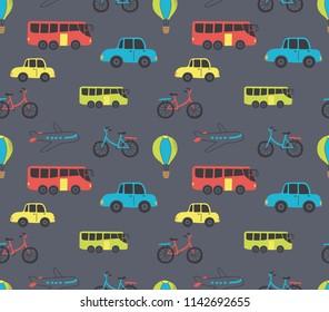 vehicle cartoon seamless background