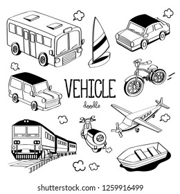 Vehicle Doodle. Hand drawing styles for vehicle.