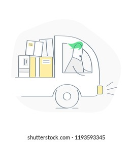 Vehicle driver, courier on the way. Transportation of packages, delivery truck with a pile of cardboard boxes. Express delivery service, movers, cargo vector illustration concept on white.