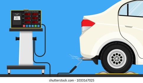 Vehicle emission testing car air gases smog fuel fume mot co co2 obd auto dyno shop tool fast tune truck meter probe smoke sensor check motor pipe diesel power petrol legal racing control engine waste