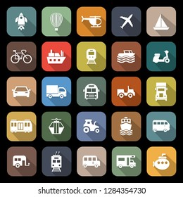 Vehicle flat icons with long shadow, stock vector