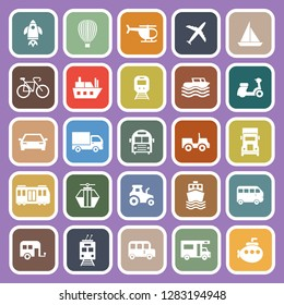 Vehicle flat icons on purple background, stock vector