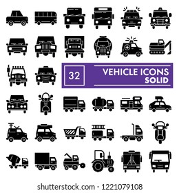 Vehicle glyph icon set, car symbols collection, vector sketches, logo illustrations, auto signs solid pictograms package isolated on white background, eps 10