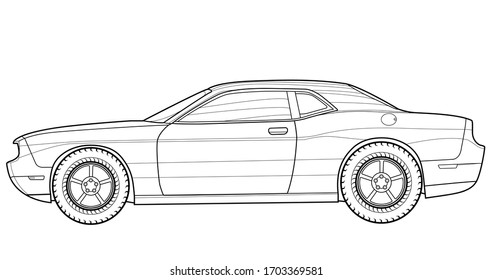 Vehicle graphic Adult coloring book, paper page and drawing. Auto vector illustration. Drive vehicle. Graphic element. Car wheel. Black contour sketch illustrate Isolated on white background.