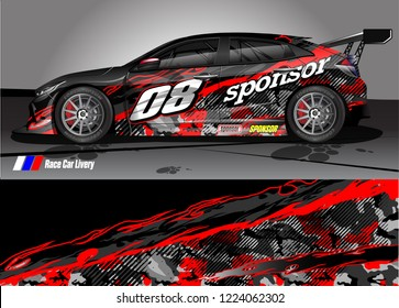 vehicle graphic kit vector. abstract tribal lines with camouflage background for race car, van and pickup truck sticker wrap