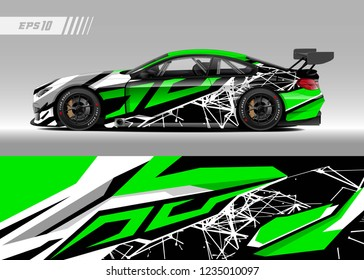 vehicle graphic livery design vector. Graphic abstract stripe racing background designs for wrap cargo van, race car, pickup truk, adventure vehicle.