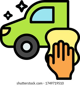 Vehicle with Hand holding microfiber towel vector Color Icon design, Manual Carwash & Detail Center equipment on white background, Car Body Paint Work Concept, Disinfect Germs Bacteria Free Lorry
