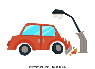 Vehicle hit streetlight car accident broken transport vector careless or drunk driving danger on road hood damage wreckage and splinters collision crime or misdemeanor insurance case isolated object.