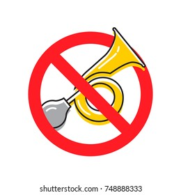 Vehicle horn. Don't honk, no sound signal. Traffic sign. Vector illustration.