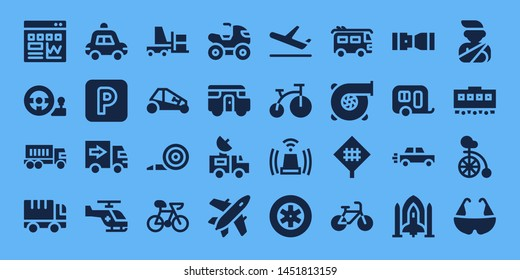 vehicle icon set. 32 filled vehicle icons. on blue background style Simple modern icons about  - Traffic, Steering wheel, Truck, Police car, Parking, Delivery truck, Helicopter