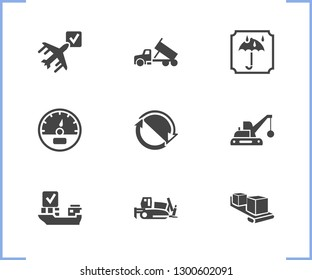 Vehicle icon set and bulldozer with dump truck, ship by air and speedometer. Gauge related vehicle icon vector for web UI logo design.