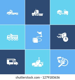 Vehicle icon set and semitruck with on time delivery, campervan and flatbed truck. Distribution related vehicle icon vector for web UI logo design.