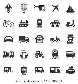 Vehicle icons on white background, stock vector