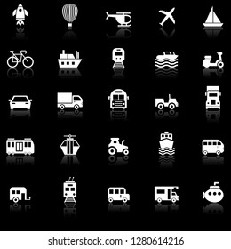Vehicle icons with reflect on black background, stock vector