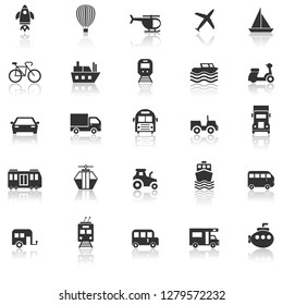 Vehicle icons with reflect on white background, stock vector