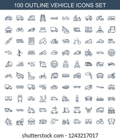vehicle icons. Set of 100 outline vehicle icons included bus airoirt, tractor, cargo wagon, toy car, medical helicopter on white background. Editable vehicle icons for web, mobile and infographics.