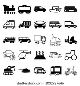 Vehicle icons. set of 25 editable filled and outline vehicle icons such as van, trailer, delivery car, car, heating system in car, tank, boat, tractor, truck, bus, ambulance