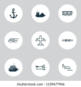 Vehicle icons set with air transport, motorboat, airplane and other metro elements. Isolated vector illustration vehicle icons.