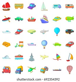 Vehicle icons set. Cartoon style of 36 vehicle vector icons for web isolated on white background