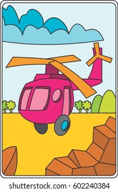 Vehicle Illustration For Children. Outline Illustration for Kids. Helicopter Illustration
