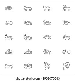 Vehicle insurance vector icons, symbol designs